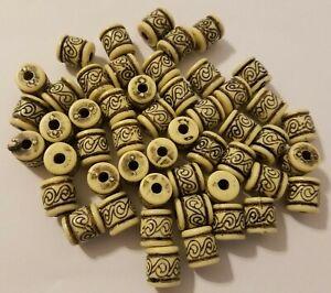 Lot of 50 White Athenian Baroque Plastic Barrel Macrame Craft Jewelry Beads 12mm