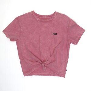 Vans Junior V Short Sleeve Crop Knot T-Shirt Pink WM SZ S ( VN0A5DUMUO6 ) NWT!!!