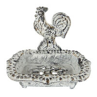 Cast Iron Antiqued White Rooster Soap Dish Country Decor