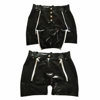 100% Latex Rubber Two Zipper Black White Boxer Shorts Button 0.4mm size S-XXL