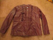Susan Graver Jacket Coat Maroon Plum Faux Leather Size XL Zip Front