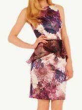 Satén Sedoso Costa Carissa púrpura marfil de Organza Vestido de Peplum Wiggle 16 Nuevo Sin Etiquetas £ 220