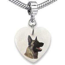 Belgian Shepherd Dog Malinois Natural Shell European Bracelet Charm Bead EBS142