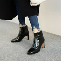 Women Party Med Cone Heel Zip Ankle Boots Fashion Square Toe Patent Leather Shoe