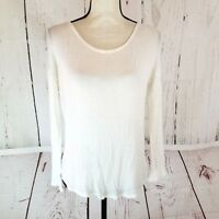 Dina Be Knit Top Womens Sz S White Long Sleeve Keyhole Back Stretch Shirt Blouse