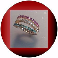 w/ Diamond RubySapphire Emerald 18k Yellow/G Four movable Attached 1/2 band Ring