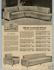 1958 PAPER AD 2 PG Selig Lynbrook Fairlane Mid Century Modern Sofa Sectional