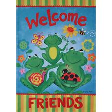 """Welcome Friends"" Frogs & Flowers Small Flip It Garden Flag 12.5"" x 18"""