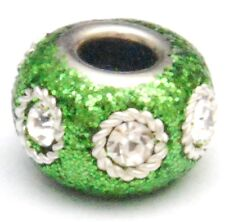 2 GREEN GLITTER KASHMIRI CHARM BEADS, LARGE HOLE, 15 MM