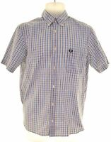 FRED PERRY Mens Shirt Short Sleeve Small Blue Check Cotton  MP05