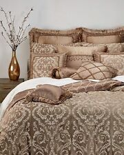 """WATERFORD Hailey Square Fringe Toss Pillow Taupe Gold 12"""" X 12"""""""