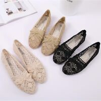 Women's Summer Lace Hollow Out Breathable Full On Comfort Flat Shoes Fashion Now