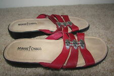 Red Minnetonka Leather Silver Decor Slip On Open Toe Flats Shoes Sz 7