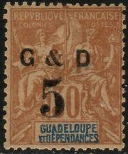 Guadeloupe Scott 45 MLH OG Surcharged 1903 Mint Lightly Hinged Original Gum