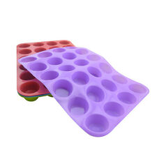 24 Cavity DIY Mini Muffin Cup Silicone Cookies Cupcake Bakeware Pan Tray Mold US