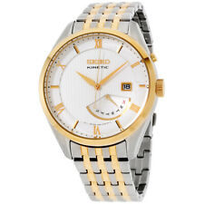 Seiko Kinetic Quartz Movement White Dial Men's Watch SRN056 **Open Box**