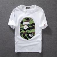BAPE A BATHING APE Crew Neck T-shirts Camo Monkey Head Basic Tee Men Women Tops