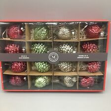 x16 Martha Stewart Mercury Glass Ornament Set Pinecone Acorn Red Green Silver