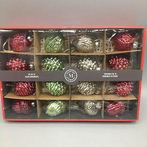 x16 Martha Stewart Mercury Glass Ornaments Pinecone Acorn Red Green Silver AS-IS