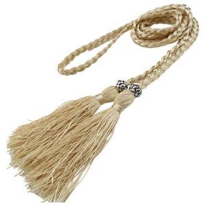 Bohemia Women Braided Belt Tassel Self-Tie Thin Waist Rope Waistband Accessories