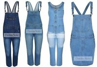 New Ladies Womens Denim State Long Dungarees Jumpsuits Playsuit & Pinafore dress