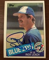 RICK LEACH 1985 TOPPS AUTOGRAPHED SIGNED AUTO BASEBALL CARD 592 BLUE JAYS TIGERS