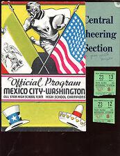 Circa 1936 High School FB Program Mexico City Washington + Two Ticket Stubs VGEX