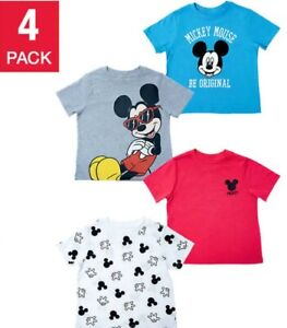 New Disney 4-pack Tee Mickey Mouse T-Shirt Shirts Tees Boys Be Original