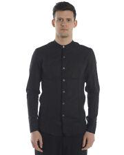 Camicia Daniele Alessandrini Shirt SLIM FIT Lino Uomo Nero C1615R12143802 1