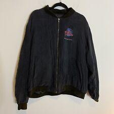 Vintage Mens Planet Hollywood San Francisco Silk Bomber Jacket Black Lined Xl