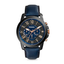 Fossil FS5061 Grant Chronograph Black and Blue Dial 43mm Men's Watch