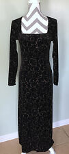 JESSICA HOWARD Evenings Black Velvet Sequin Long Sleeve Formal Dress Sz 6 Small