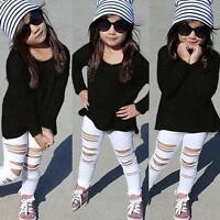 2pcs Kids Baby Girls Outfits Long Sleeve Cotton T-shirt Tops+Pants Clothes Set