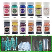 12 Bottles 12 Color Epoxy UV Resin Dye Colorant Resin Pigment + 7pcs Mold Set