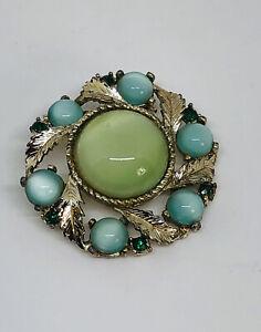 Vintage Brooch Gold Tone & Glass Beads Flower Pretty Kitsch Costume Jewellery