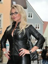 Lederbluse Leder Bluse Schwarz Hemd 3/4 Arm Größe 32 - 58 XS - XXXL
