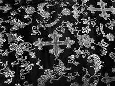 """BLACK/SILVER METALLIC  CHURCH BROCADE FABRIC 45"""" WIDE 1 YARD"""