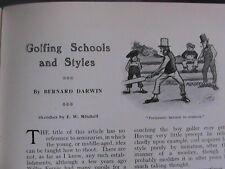 Golf Golfing Style Schools Bernard Darwin Hilton Rare Old Antique Article 1908
