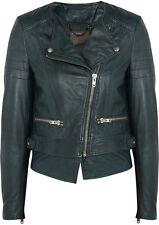 Muubaa Surko Dark Green Leather Biker Jacket UK10 / US6 / EU38 RRP £475