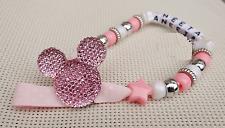 Impresionante Personalizado Rosa Bebé Clip ficticio cadena Hermoso Regalo Niñas