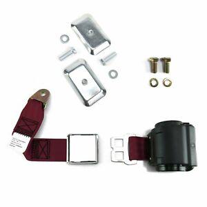 2pt Burgundy Airplane Buckle Retractable Lap Seat Belt w/Plate Hardware