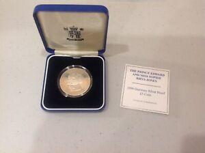 1999 Guernsey Prince Edward Ms Sophie Rhys-Jones Silver Proof £5 coin COA Box b9