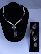 Sterling Silver Native Necklace & Earring Set with Bone & Chevron Beading- 13041