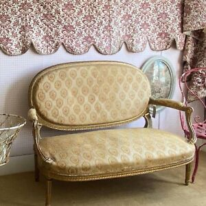 Antique settee French Sofa Vintage Furniture Two Seater Chair 1800s Chateau Chic