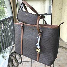 Michael Kors Women PVC Leather Large Shoulder Tote MK Bag Handbag and Wallet Set