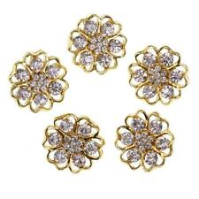 5pcs Gold Metal Flower Crystal Shank Buttons Embellishments for Sewing 20mm