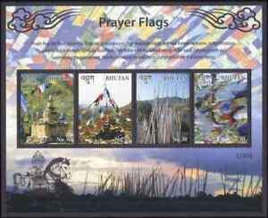 Bhutan 2016 Mi# 2987/90 (Block 569) MNH Prayer flags