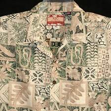 RJC XL Hawaiian Aloha Shirt Reverse Print Honu Fish Palms Floral Green Tan Mens