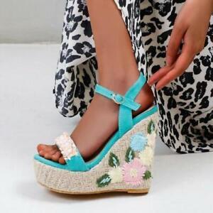 Womens Fashion Summer Beads Flowers Wedge High Heels Platform Boho Beach Sandal