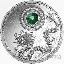 BIRTHSTONES MAY Gemstone Swarovski Silver Coin 5$ Canada 2016